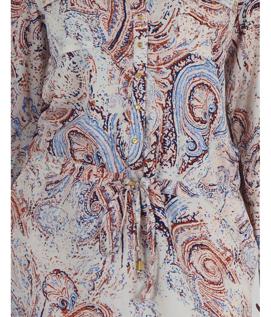 L.O.V. Crepe Self Design Crepe Multi Coloured Full Sleeved Casual Shift Dress