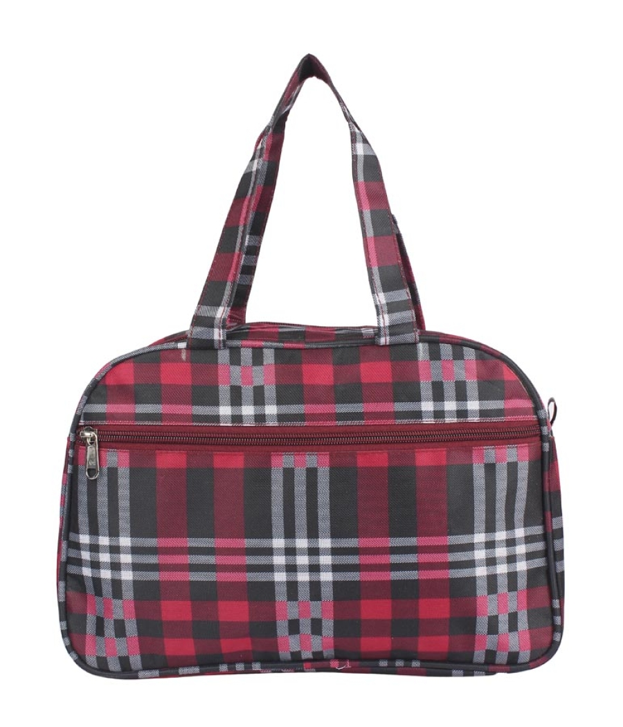 Aliado Cloth/Textile/Fabric Printed Red and Black Coloured Zipper Closure Handbag