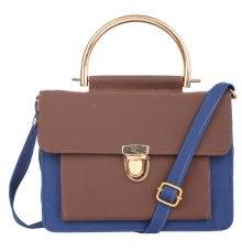 Envie Faux Leather Solid Blue & Brown Tuck Lock Closure Sling Bag
