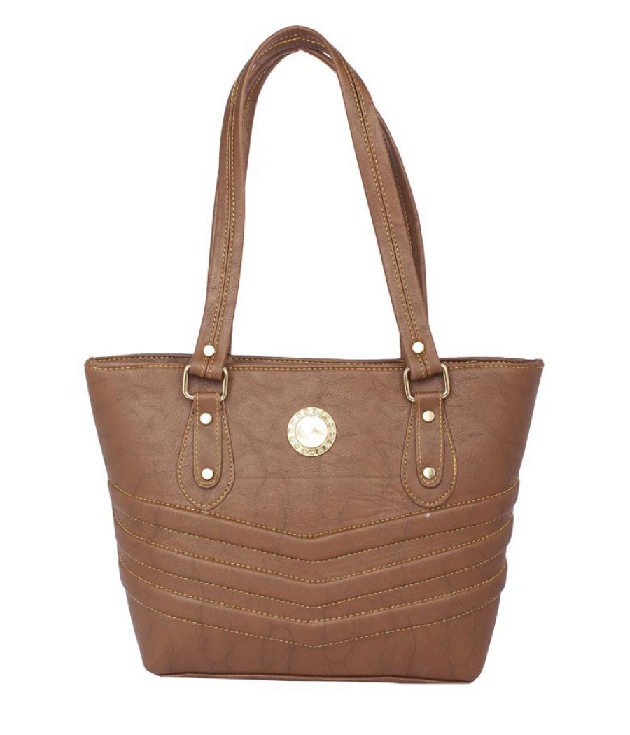 Aliado Faux Leather Coffee Brown Zipper Closure Tote Bag