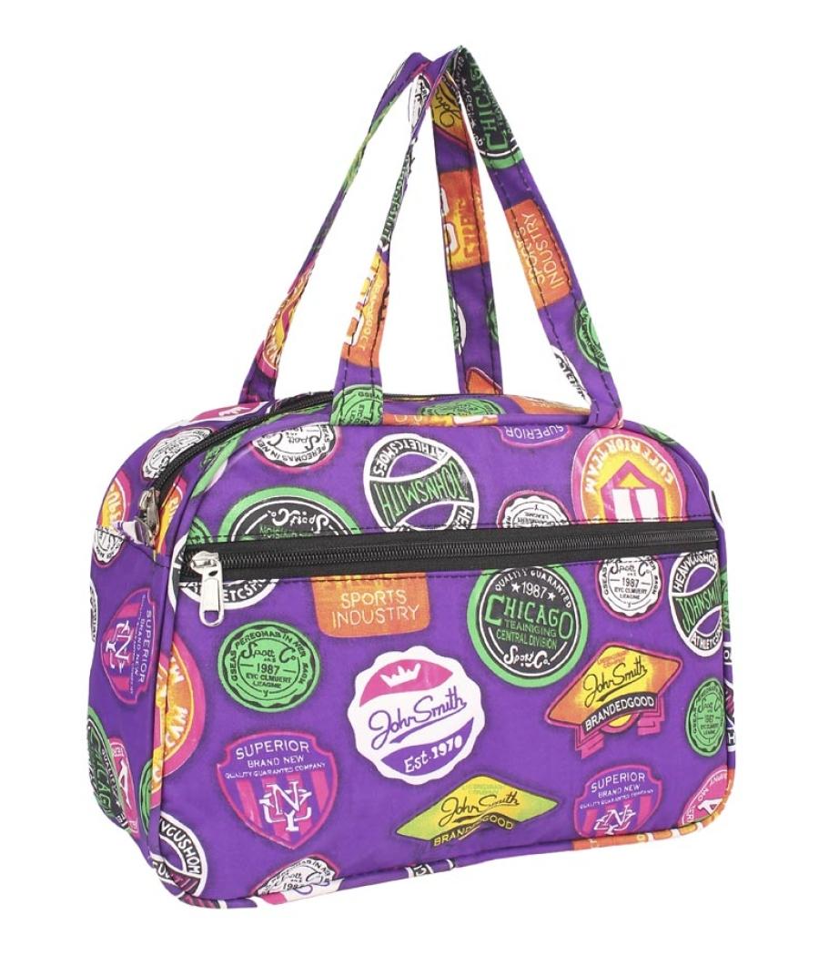 Aliado Cloth/Textile/Fabric Printed Purple and Multi Coloured Zipper Closure Handbag