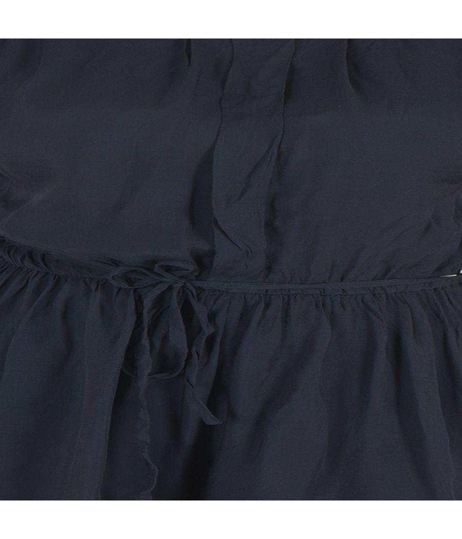 Petites Viscose Solid Blue Mega Sleeves Round Neck Gathered Playsuit