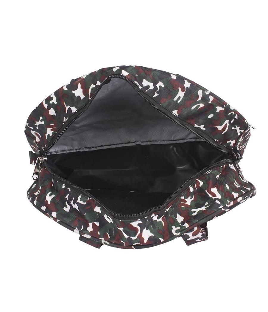 Aliado Cloth/Textile/Fabric Printed Black and White Coloured Zipper Closure Handbag
