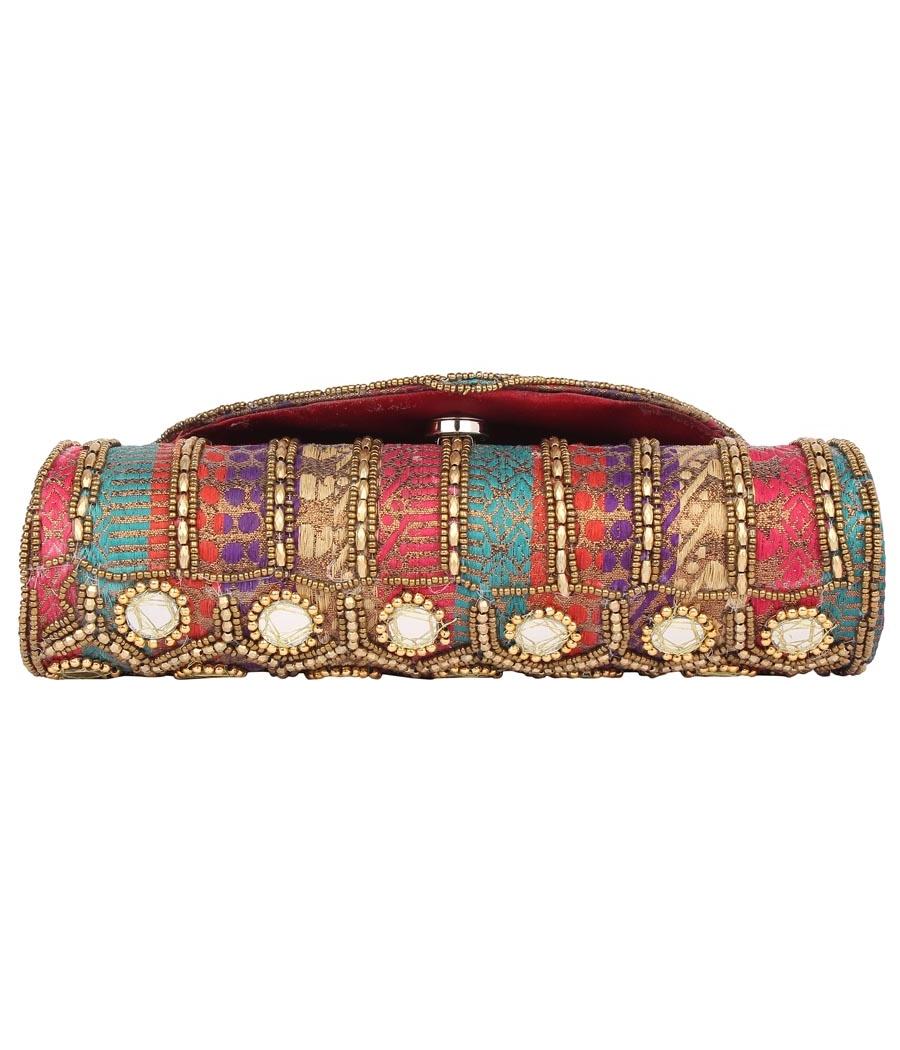 Envie Cloth/Textile/Fabric Embellished Multi Coloured Zipper Closure Clutch