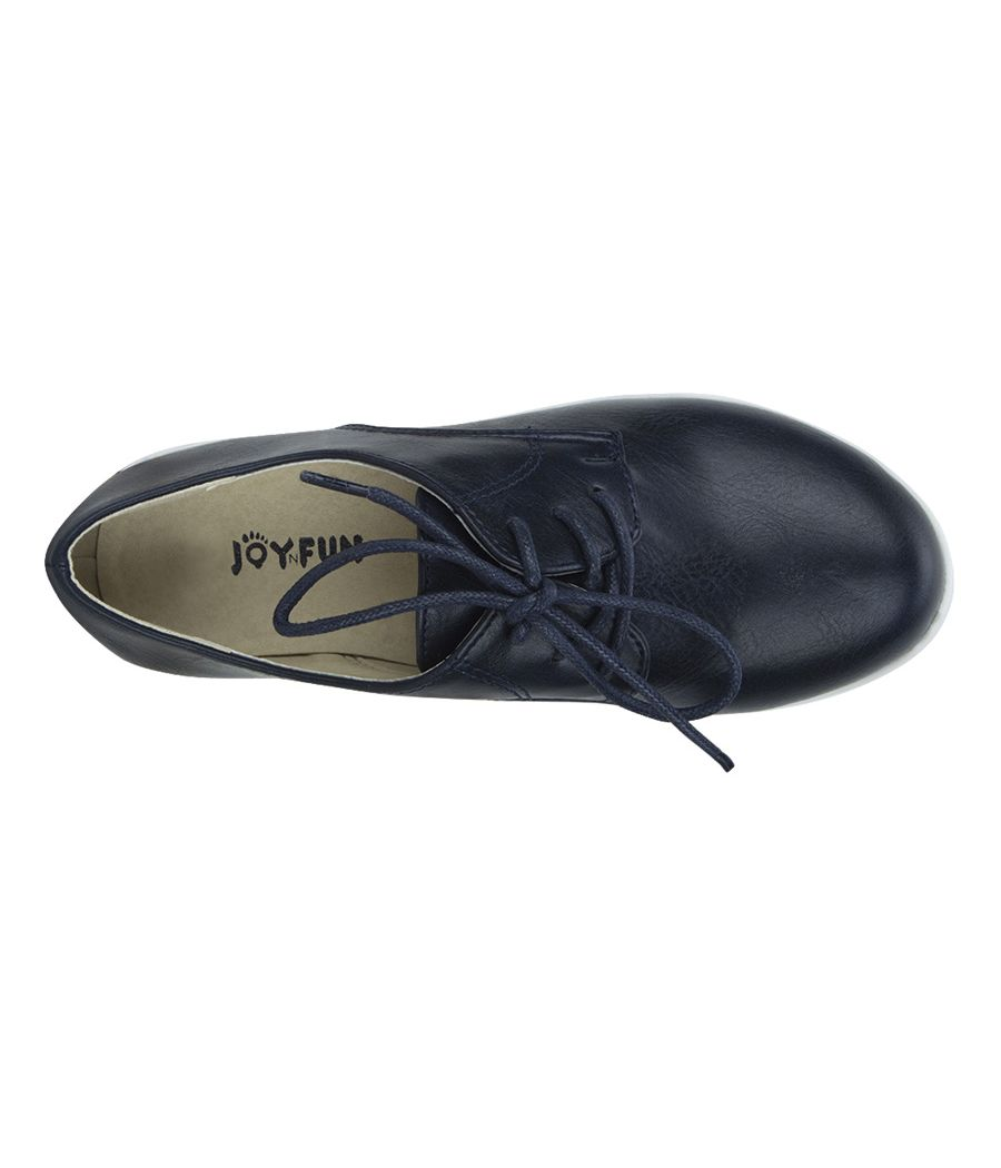 Joy n Fun Frosted Leather Broad Toe Comfortable White Sole Black Laced Formal Shoes for Boys/ Kids