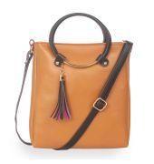 Aliado Polyester Tan & Black Zipper Closure  Sling Bags