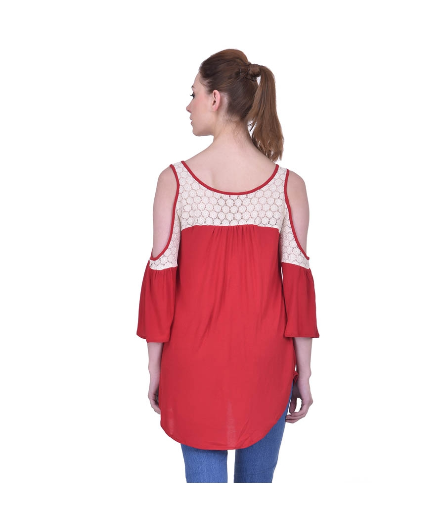 Estance Hosiery Solid Off White and Red Cold Shoulder 3/4th Sleeves Casual Lace Top