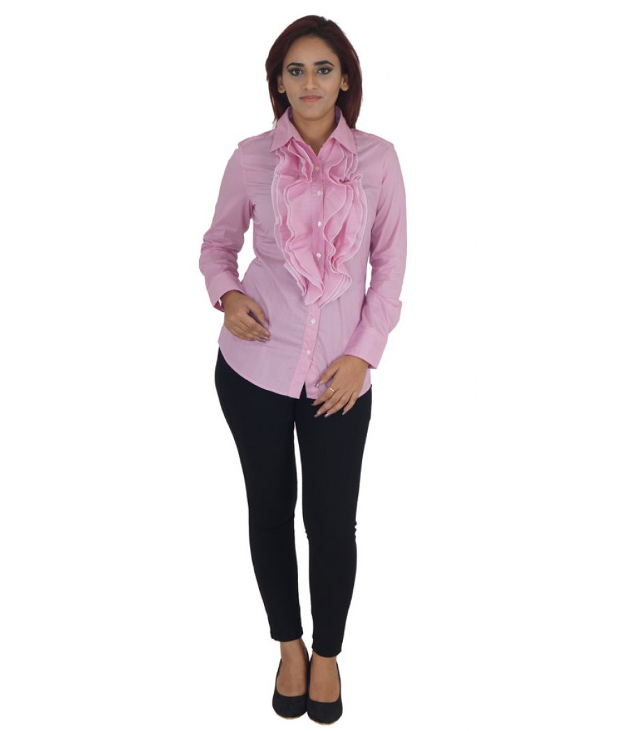 Stile Benetton Cotton Solid Pink Full Sleeves Ruffle Casual Shirt