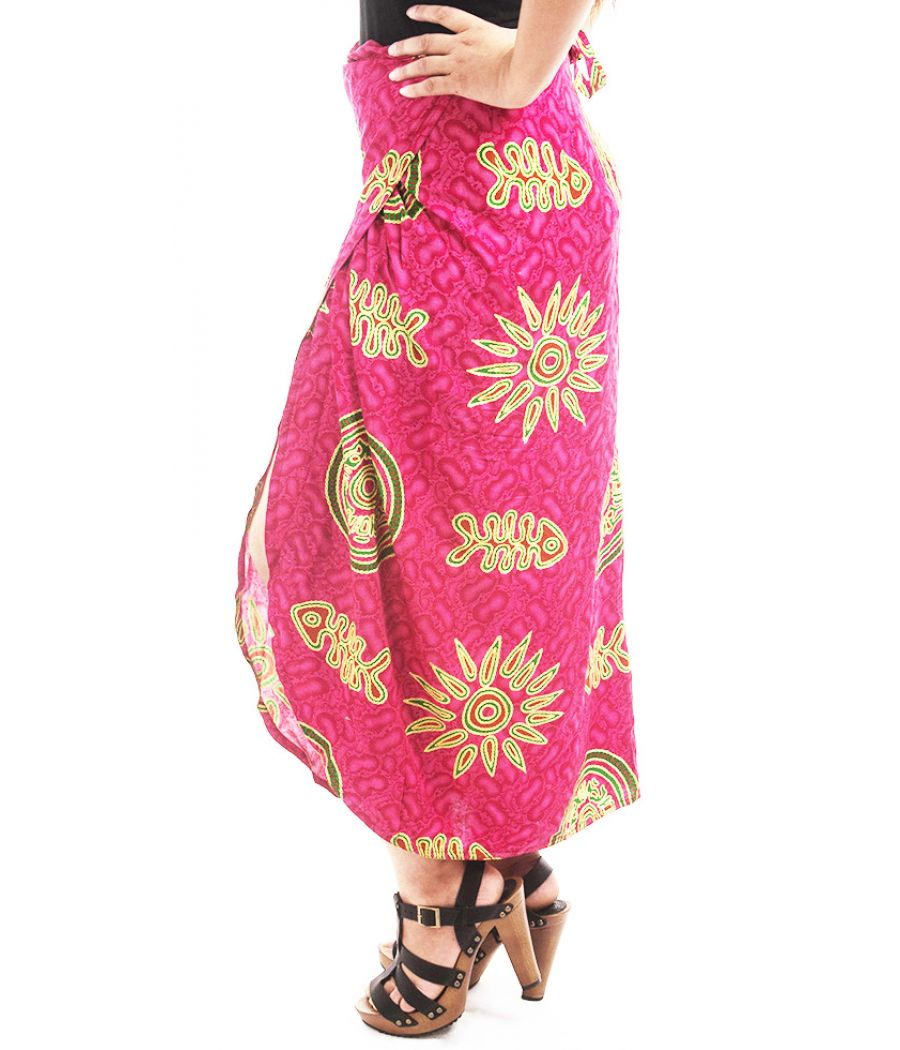 Designer Collection Rayon Tribal Print Hot Pink & Multi Casual Skirt