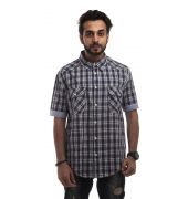 Zara Cotton Plain Checkered Navy Blue & White Slim Fit Casual Shirt