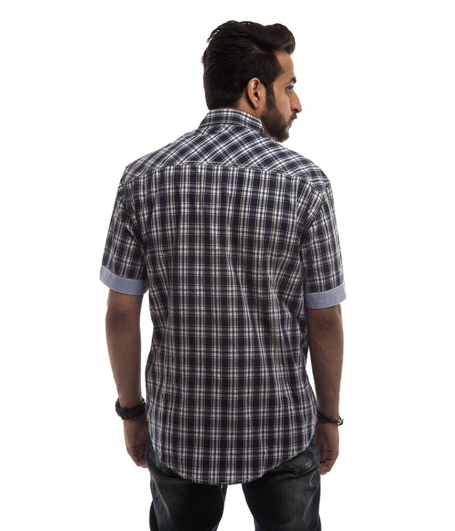 Zara Cotton Plain Checkered Navy Blue & White Slim Fit Casual Shirt