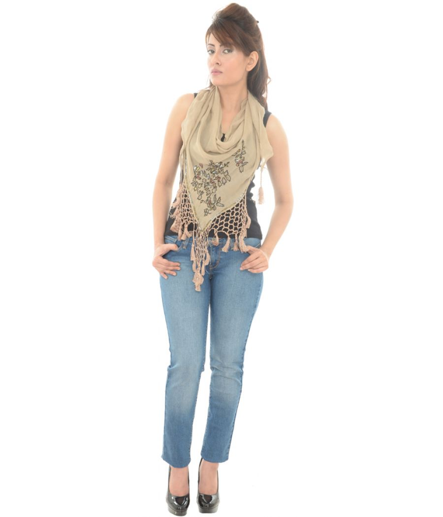 Cotton Blend Sequined Mesh Fringed Light Brown Scarf