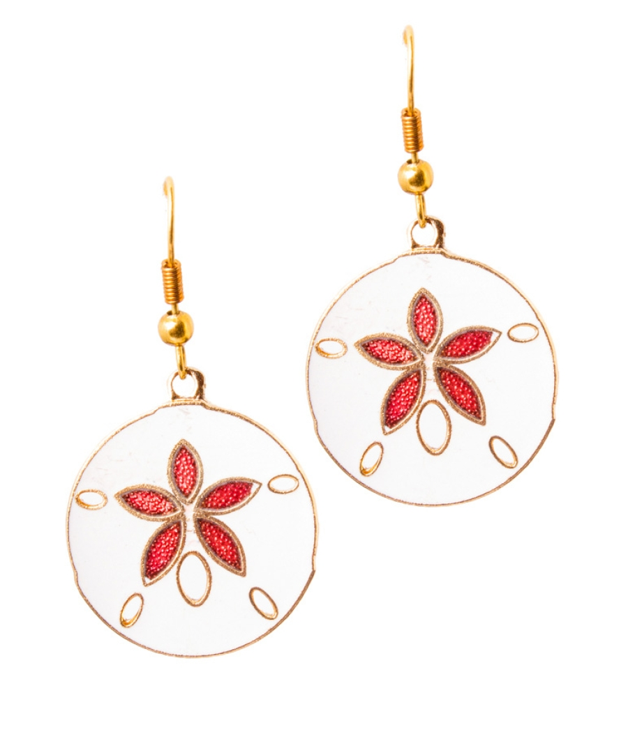 Round Enamel on Copper Earrings