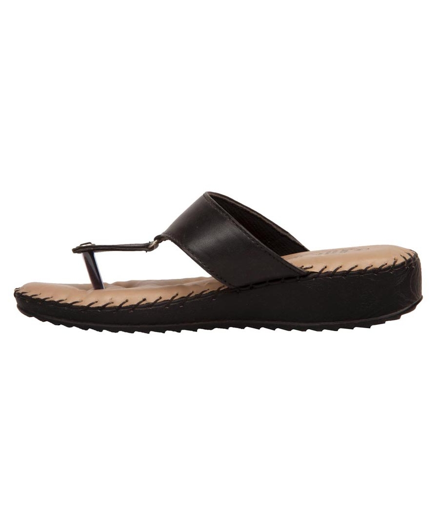 Rudra Collection Synthetic Leather Black T Strap Platform Flip Flop