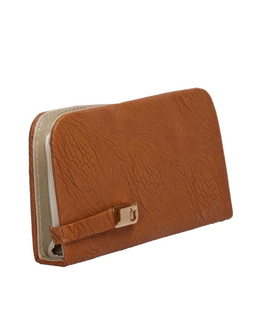 Envie Faux Leather Brown Colour Minaudiere Style Clutch
