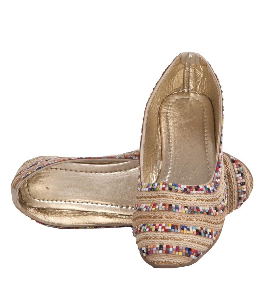 MCS Synthetic Leather Beige & Multi Broad Toe Party Flats