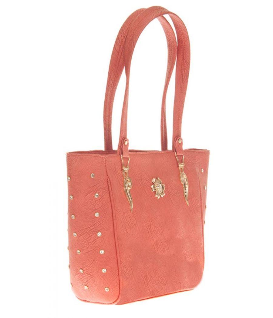 Aliado Faux Leather Solid Pink Zipper  Closure Tote Bag