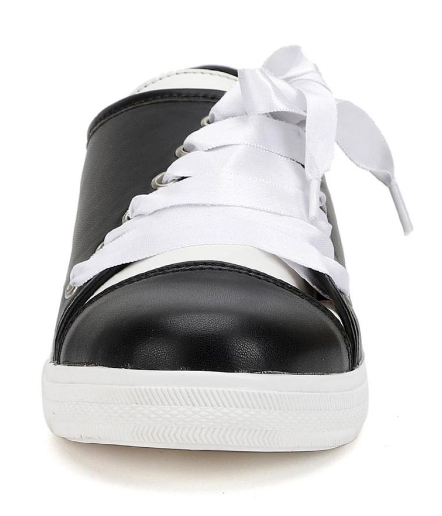 Estatos Leather Black Coloured Broad Toe Flat Heel Sneakers
