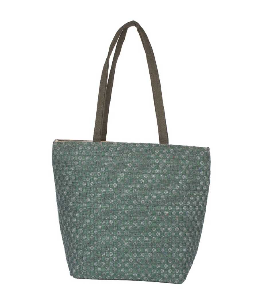 Aliado Jute Green  Coloured Zipper Closure Bag