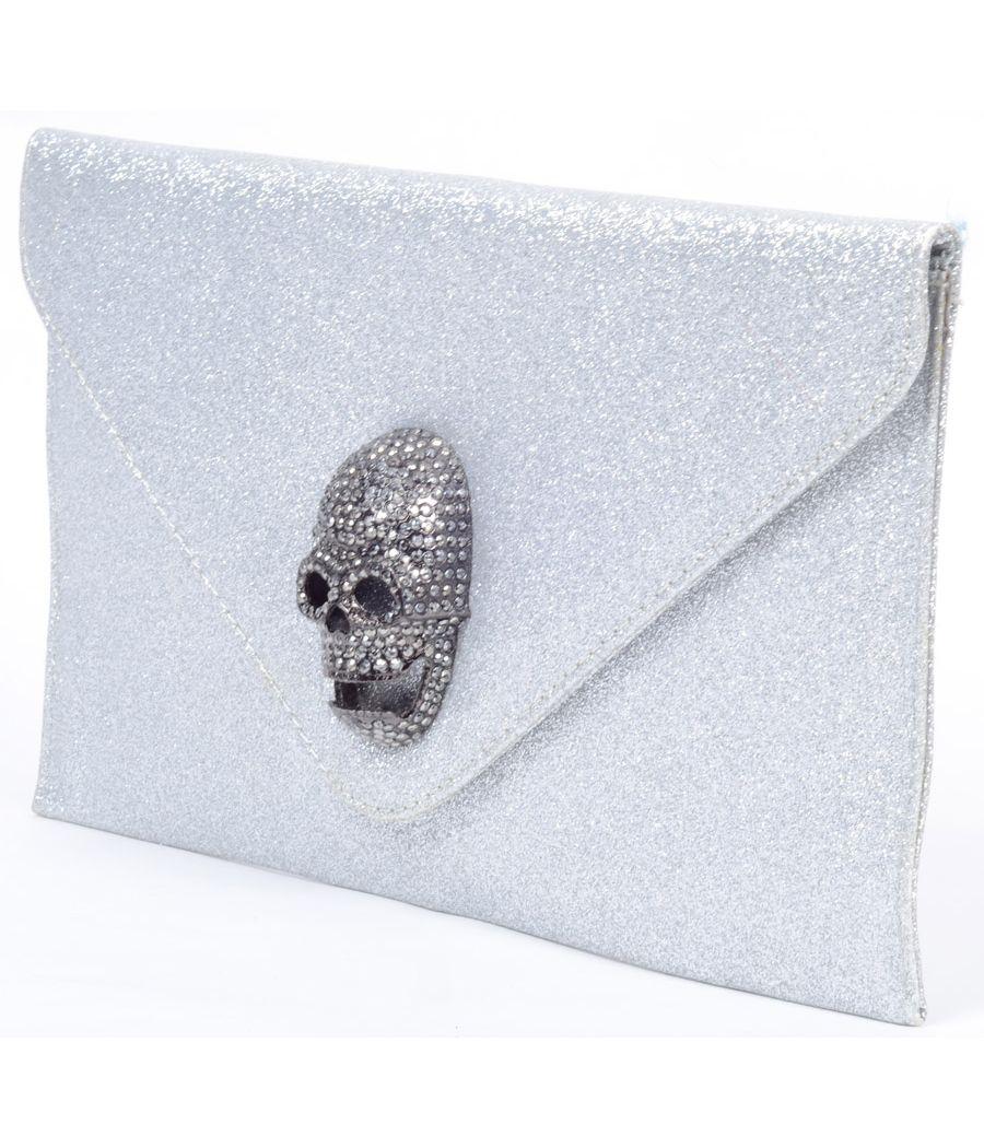 Etashee Certified Silver Glitter Clutch