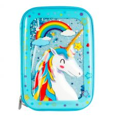 One Piece Cute Unicorn Water Glitter Pouch Large Storage for Stationary and Makeup Accessories Girls.