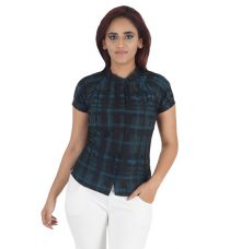 Wills Classic Cotton Geometric Print Black & Green Half Sleeves Button Closure Casual Top