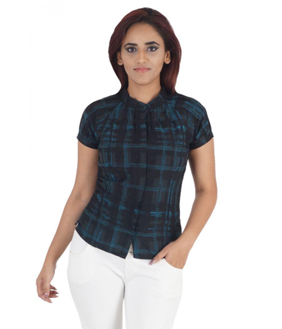 Wills Classic Cotton Geometric Print Black & Green Half Sleeves Button Closure Casual Top