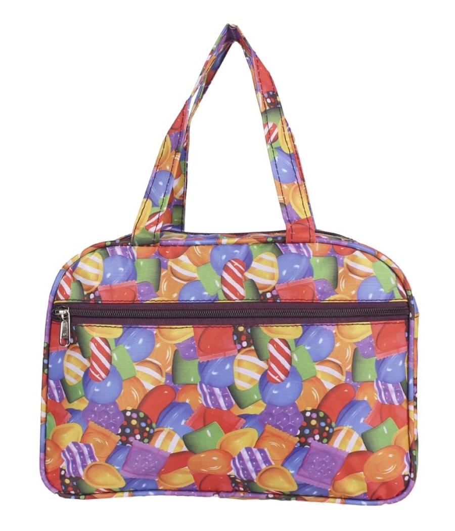 Aliado Cloth/Textile/Fabric Printed Multi Coloured Zipper Closure Handbag
