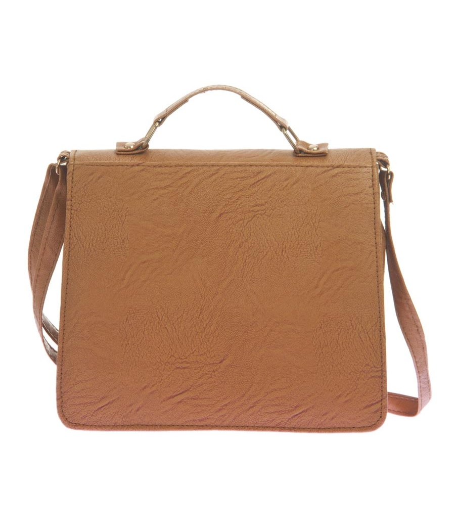Envie Faux Leather Brown Solid Sling Bag