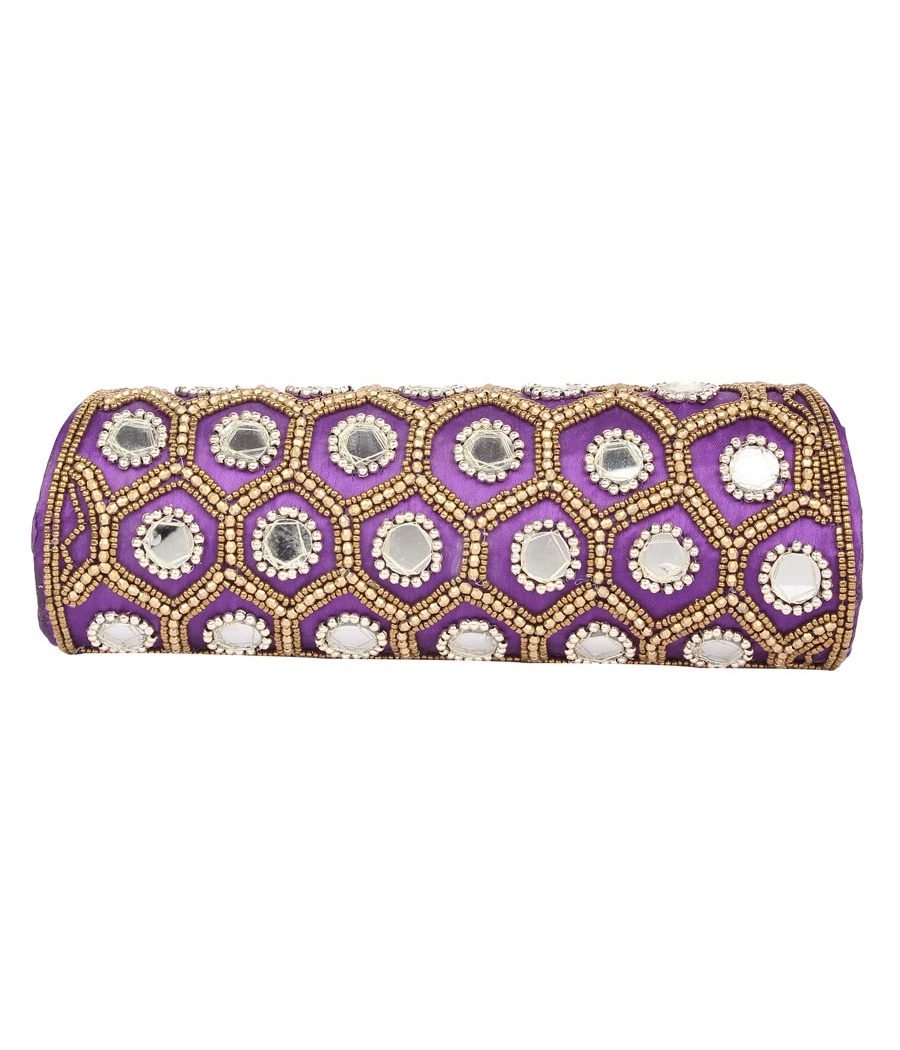 Envie Cloth/Textile/Fabric Embellished Purple Fold Over Clutch
