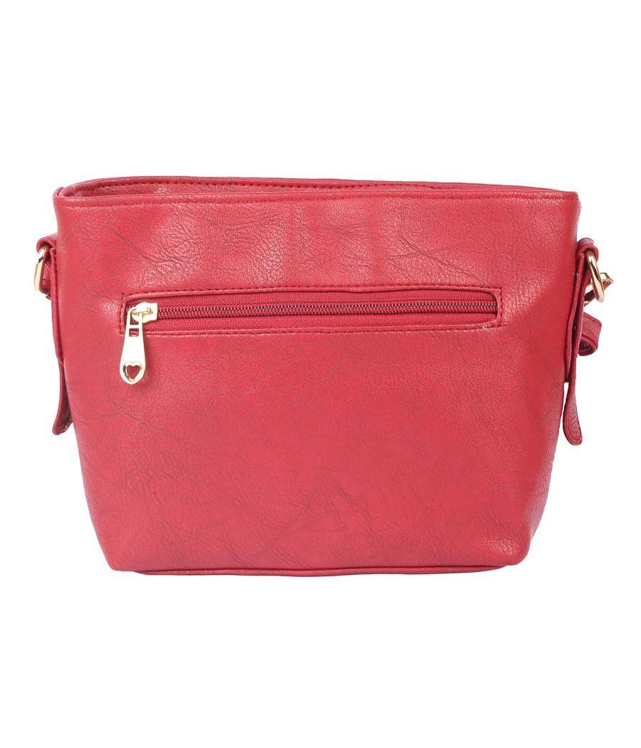 Aliado                 Faux Leather Magenta Coloured Zipper Closure Tote Bag