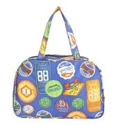 Aliado Cloth/Textile/Fabric Printed Blue & Multi Coloured Zipper Closure Handbag