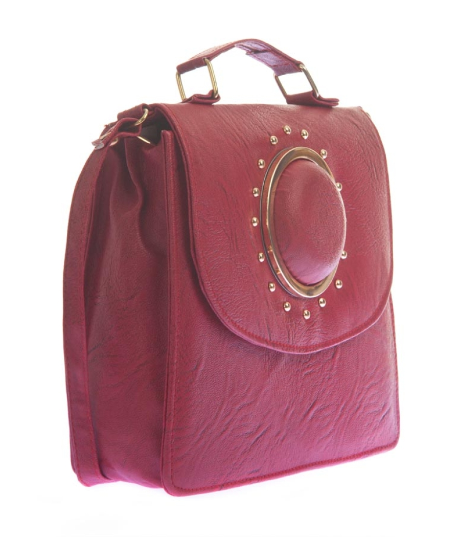 Envie Faux Leather Solid Pink Magnetic Snap Sling Bag