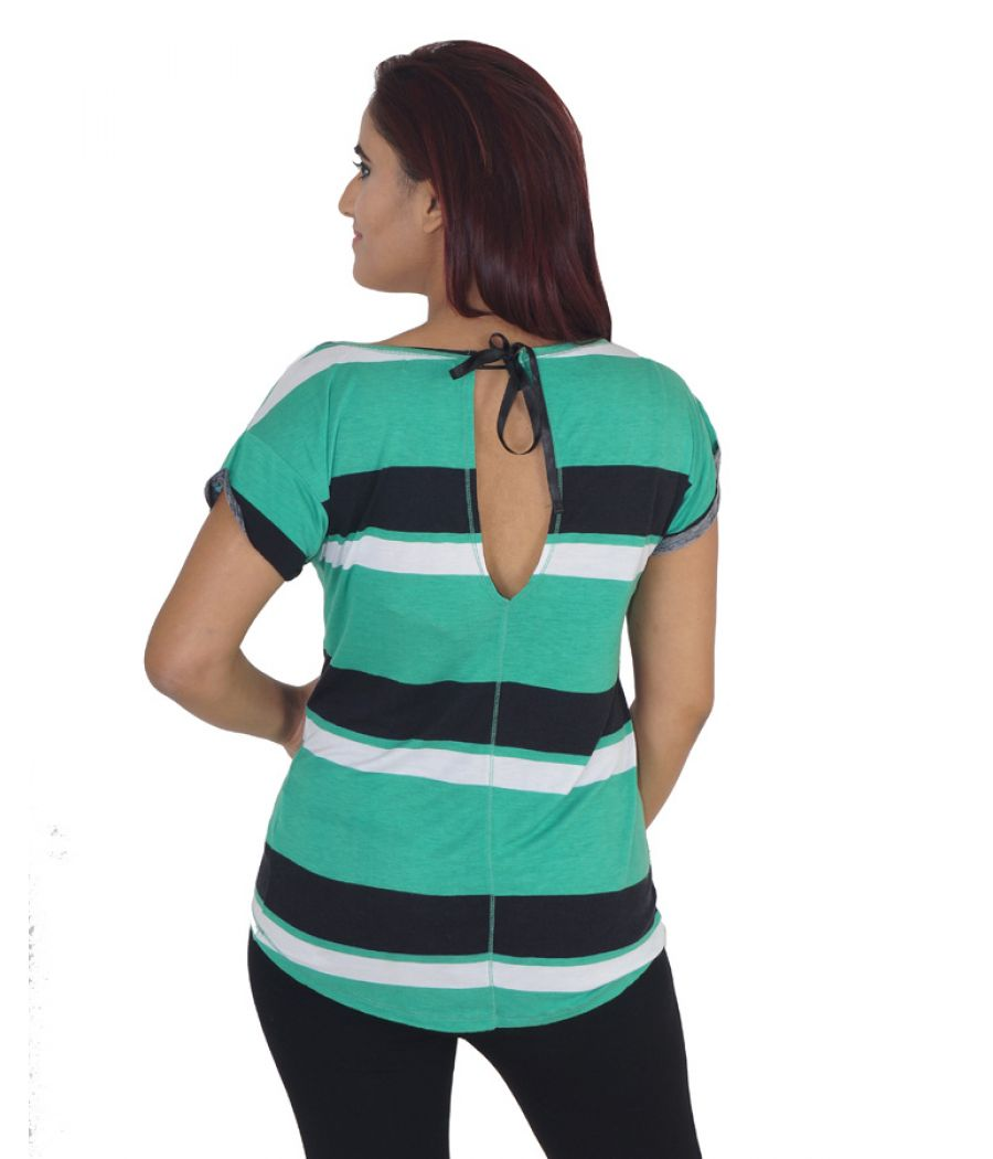 Pull & Bear Hosiery Plain Striped White, Black and Green Casual Top