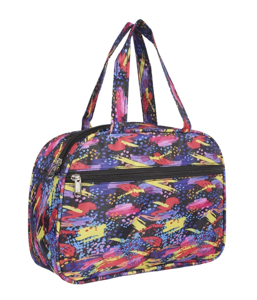 Aliado Cloth/Textile/Fabric Printed Multi & Blue Coloured Zipper Closure Handbag