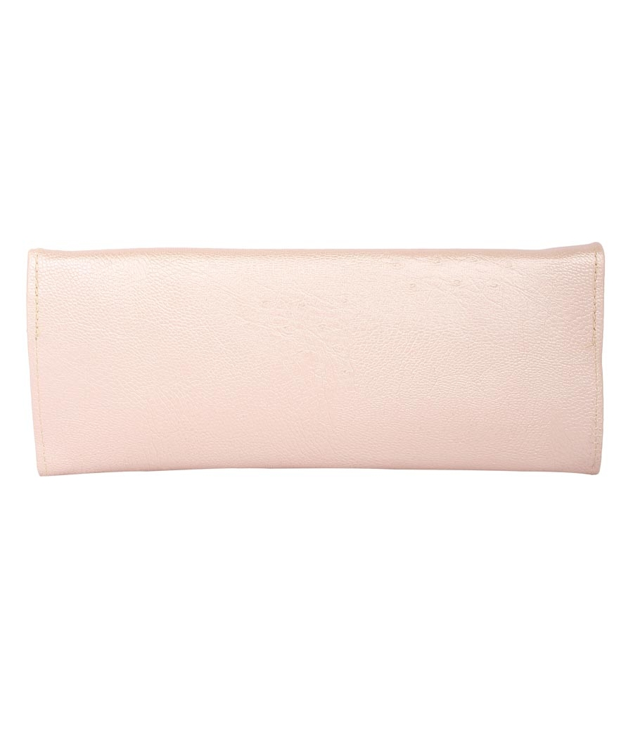 Envie Faux Leather Pink    Coloured Magnetic Snap Fold Over Clutch