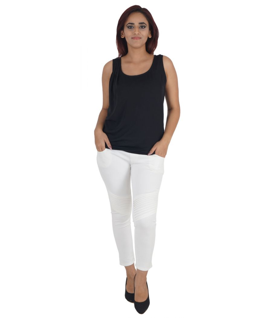 Zara Basic Georgette Plain Solid Black Sleeveless Casual Top
