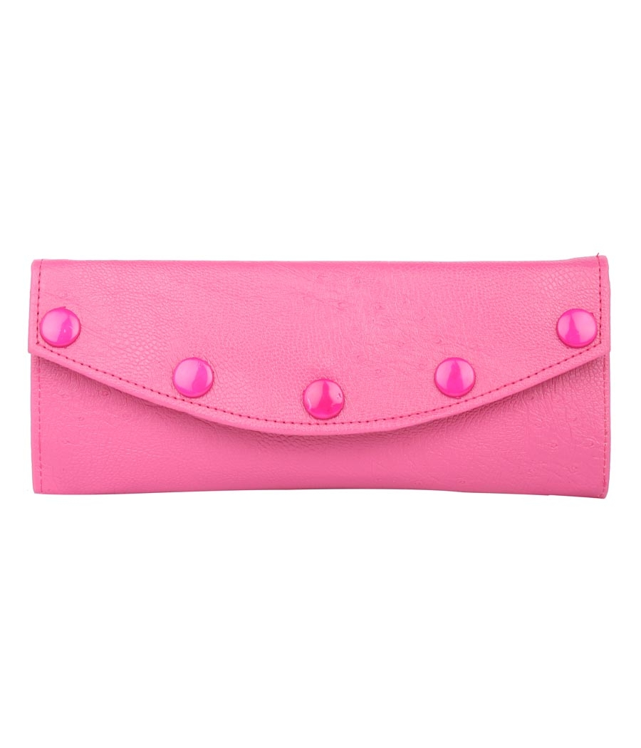 Envie Faux Leather Solid Pink Magnetic Snap Fold Over  Style Clutch