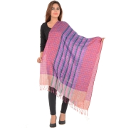 Sanida Self Design Checkered Modal Multi Fringed Shawl