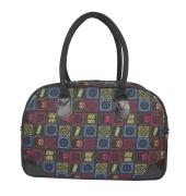 Aliado Cloth/Textile/Fabric Printed Black and  Multi Coloured Zipper Closure Handbag