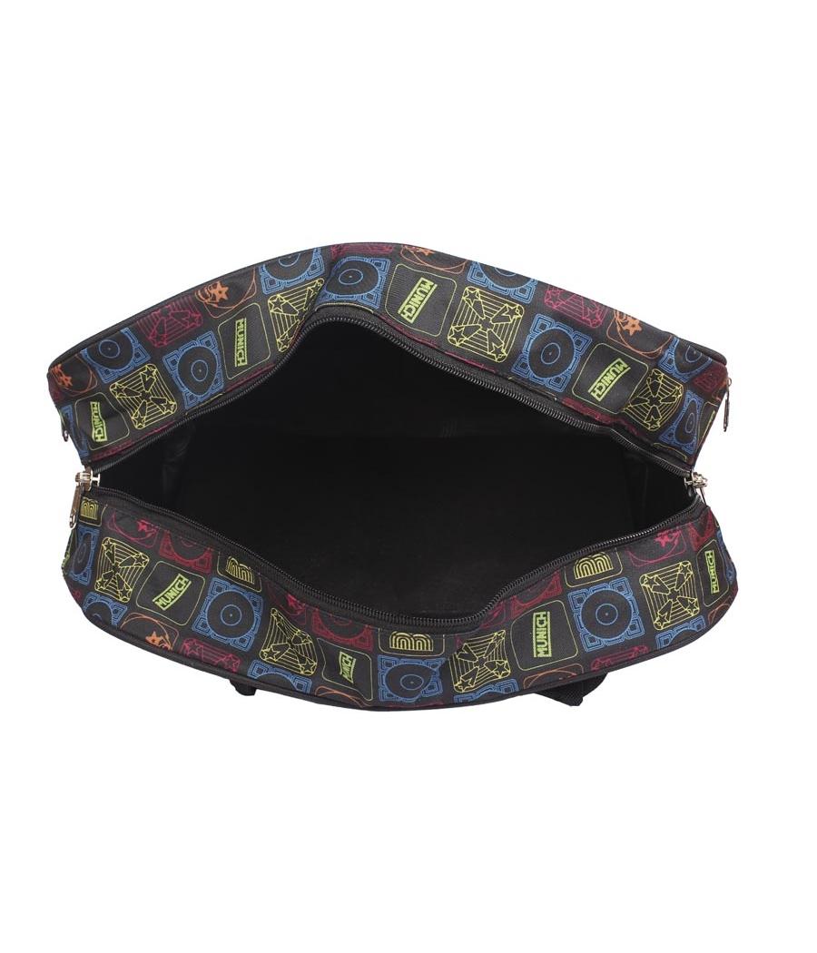 Aliado Cloth/Textile/Fabric Printed Black and  Multi Coloured Zipper Closure Handbag