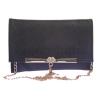 Envie Faux Leather Black Magnetic Snap  Embellished Sling Bag