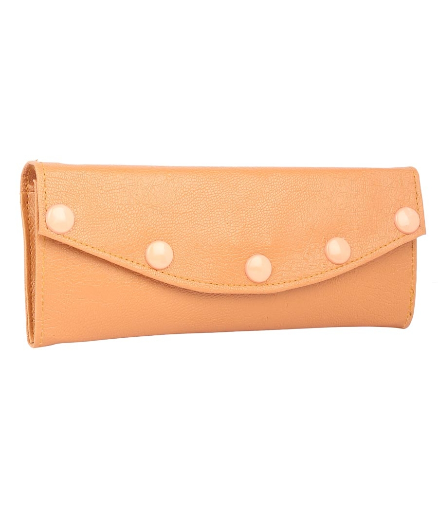 Envie Faux Leather Mustard Coloured Magnetic Snap Fold Over Clutch