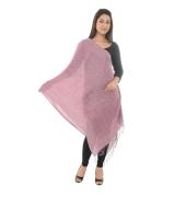 Sanida Self Design Checkered Modal Pink/Multi Shawl