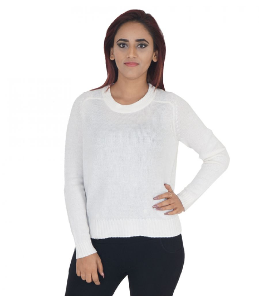 Dividco H & M Solid Cream Coloured Round Neck Full Sleeves Waist Length Casual Sweater