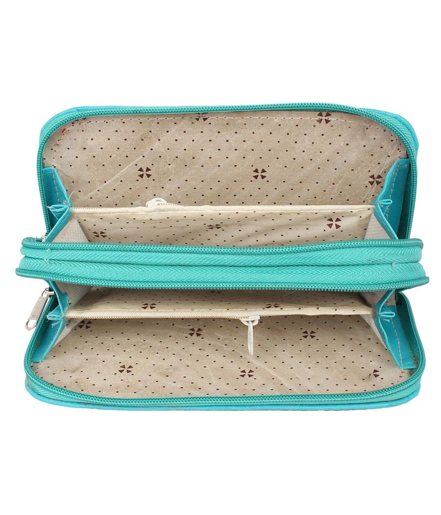 Envie Faux Leather Embroidered Blue & Green Zipper Closure Clutch