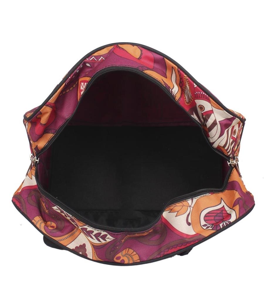 Aliado Cloth/Textile/Fabric Printed Pink and  Multi Coloured Zipper Closure Handbag