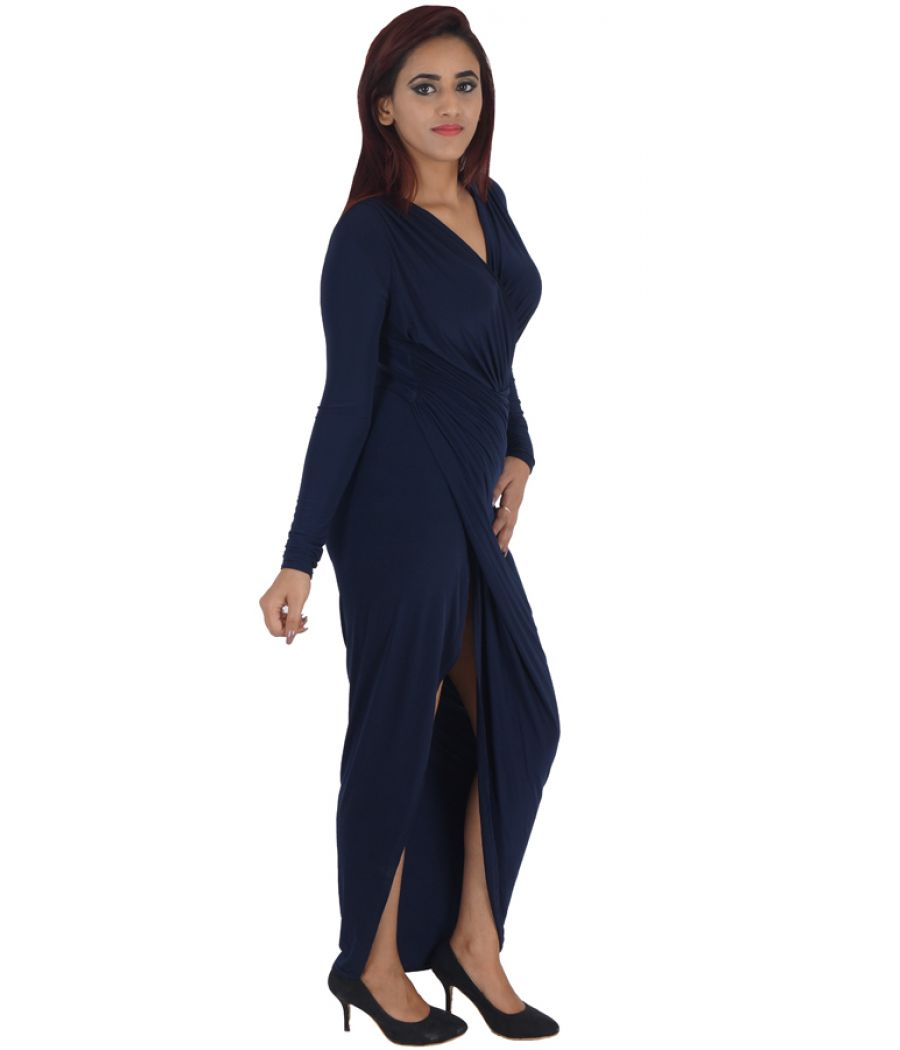 Club L Polyester Solid Navy Blue V Neck Full Sleeves Crossover Gown
