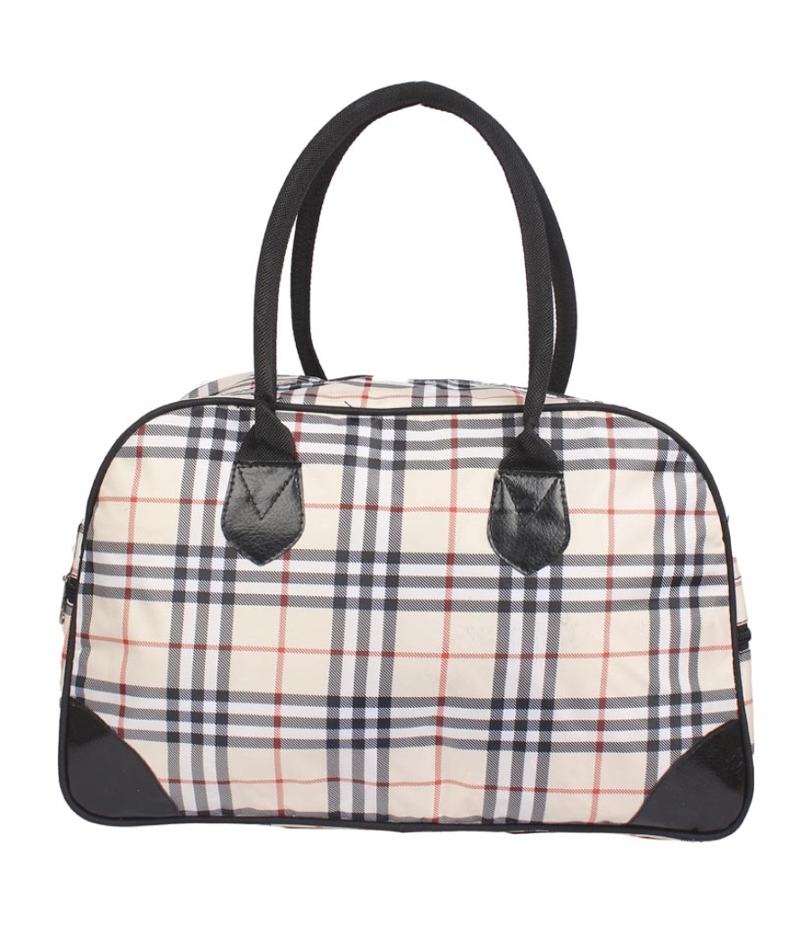 Aliado Cloth/Textile/Fabric Printed Cream and Black Coloured Zipper Closure Handbag