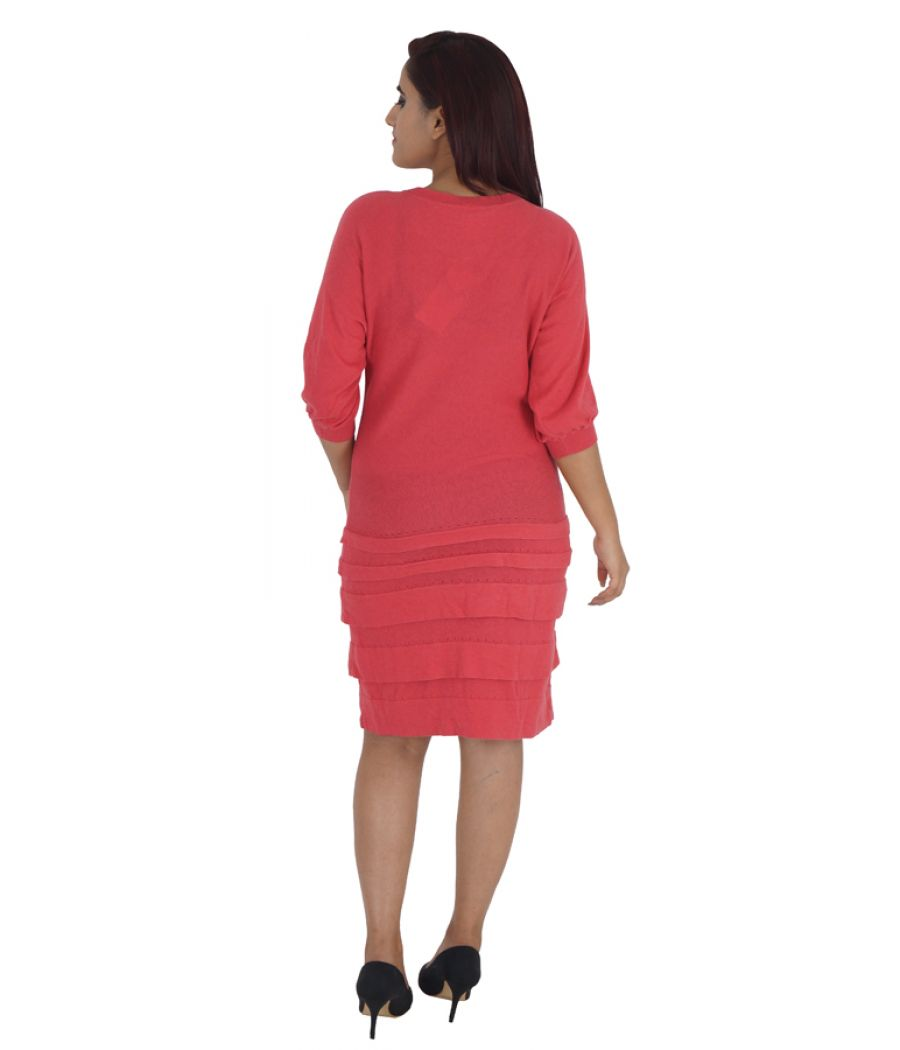 Next Cotton Plain Pink Coloured Half Sleeves Round Neck Casual Dress